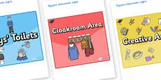 Pukeko Themed Editable Square Classroom Area Signs (Colourful)