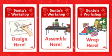 Santa's Workshop Display Posters