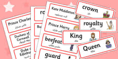 Royal Family Topic Cards Arabic Translation
