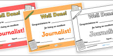 Journalist Journalism Award Certificate