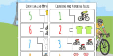 Tour de France Themed Counting Matching Puzzle