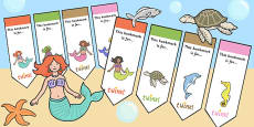 Mermaid Themed Editable Bookmarks