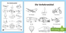 Transport Words Colouring Sheet German