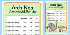 Noah's Ark Role Play Animal Feeding Times Welsh