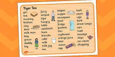 Tiger Tea Word Mat Text