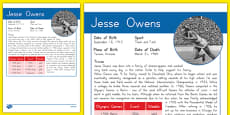 USA Olympians Jesse Owens Fact File