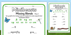 Minibeast Phase 4 Missing Sounds Activity Sheet