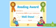 100% Reading Quiz Certificate