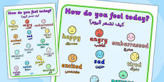 How Do You Feel Today? Emotions Chart Arabic Translation