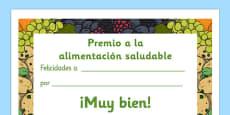 Healthy Eating Award Certificates Spanish