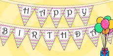Zig Zag Birthday Party Happy Birthday Bunting Pink And Green