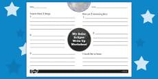 Solar Eclipse Write Up Activity Sheet