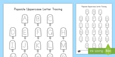 Popsicle Uppercase Letter Tracing Activity Sheet