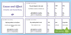 Guided Reading Skills Task Cards Cause and Effect English/German