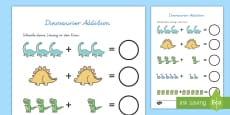 Dinosaurier Addition Arbeitsblatt