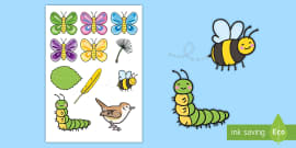 Story Cut-Outs to Support Teaching on The Crunching Munching Caterpillar