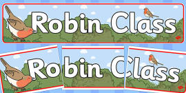Robin Themed Classroom Display Banner
