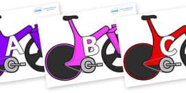 A-Z Alphabet on Bikes