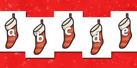 A-Z Alphabet on Christmas Stockings