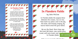 Remembrance Day Poem Sheet In Flanders Fields (A4) Printout