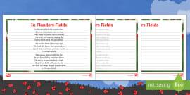 In Flanders Fields Handwriting Practice Activity Sheets