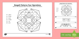 Rangoli Patterns 4 Operations to 100 Colour by Number