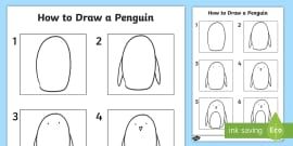How to Draw a Penguin Activity Sheet