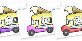 Numbers 0-31 on Ice Cream Vans