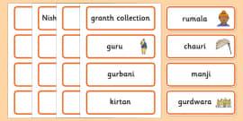 Sikhism Word Cards