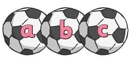 A-Z Alphabet on Footballs
