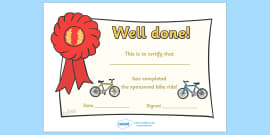 Sponsored Bike Ride Certificate