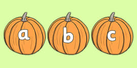A-Z Alphabet on Pumpkins