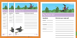 Potion Recipe Writing Activity Sheet to Support Teaching on Room on the Broom