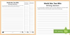 World War Two Blitz Writing Starters