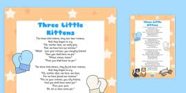 The Three Little Kittens Poem Sheet