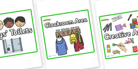 Square Classroom Area Signs (Caterpillars)