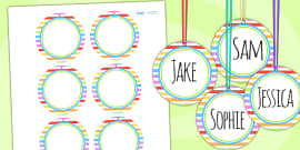 Rainbow Themed Birthday Party Name Tags