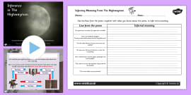 The Highwayman Inference and Character Relationships Differentiated Lesson Teaching Pack