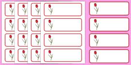 Tulip Themed Editable Drawer, Peg, Name Labels