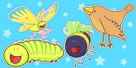 Stick Puppets to Support Teaching on The Crunching Munching Caterpillar