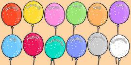 Editable Month Balloons
