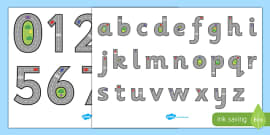 Road Themed Letter and Number Formation Display Posters