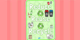 Eco And Recycling Reduce Reuse Recycle Display Poster