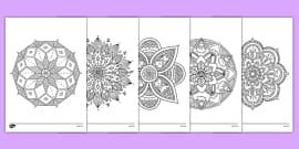 Mandala Themed Mindfulness Colouring Sheets