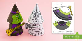 Simple Halloween 3D Witch Activity Paper Model