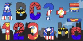 Funky Superhero Themed Display Lettering Pack