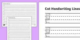 Cat Thirds Handwriting Lines
