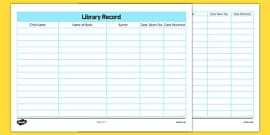 Library Book Return Record