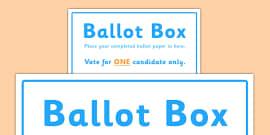 School Council Election Ballot Box Sign