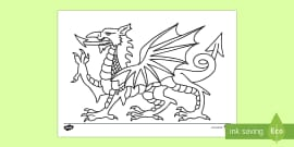 Welsh Dragon Colouring Page